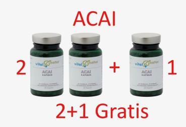 Acai-Kapseln, erhöhte Fettverbrennung - 2+1 Gratis